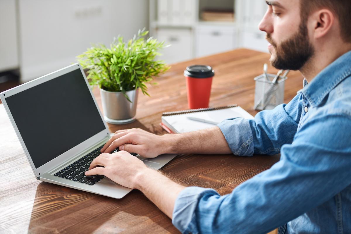 Man planning work
